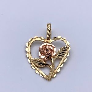 Jewelry - 14K Yellow and Rose Gold Heart and Rose Pendant